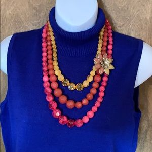 🇺🇸 Beautiful 3 strand beaded statement necklace